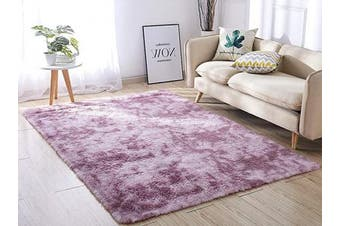 (1.2m x 1.5m, Purple&) - ACTCUT Super Soft Indoor Modern Shag Area Silky Smooth RugsFluffy Anti-Skid Shaggy Area Rug Dining Living Room Carpet Comfy Bedroom Floor 4- Feet by 5- Feet (Purple & )