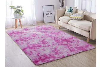 (1.6m x 2.2m, Pink &) - ACTCUT Super Soft Indoor Modern Shag Area Silky Smooth Rugs Fluffy Anti-Skid Shaggy Area Rug Dining Living Room Carpet Comfy Bedroom Floor 1.6m x 2.2m,(Pink & )