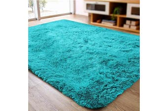 (0.6m x 0.9m, Blue) - ACTCUT Super Soft Indoor Modern Shag Area Silky Smooth Rugs Fluffy Anti-Skid Shaggy Area Rug Dining Living Room Carpet (0.6m x 0.9m, Blue)