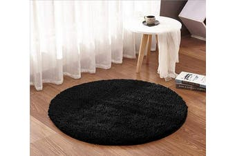 (1.2m Round, Black) - ACTCUT Super Soft Indoor Modern Shag Area Silky Smooth Rugs Fluffy Anti-Skid Shaggy Area Rug Dining Living Room Carpet (1.2m Round, Black)