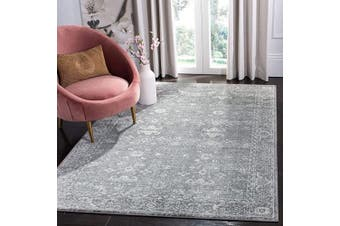 Safavieh Evoke Collection EVK270S Vintage Shabby Chic Distressed Area Rug, 0.3sqm, Grey/Ivory