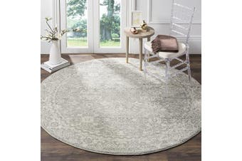 (0.9m Round, Silver/Ivory) - Safavieh Evoke Collection Silver and Ivory Round Area Rug, 0.9m