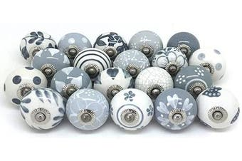 (20pc) - Artncraft Knobs Grey & White Cream Rare Hand Painted Ceramic Knobs Cabinet Drawer Pull Pulls (20 Knobs)