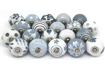 (30pc) - Artncraft Knobs Grey & White Cream Rare Hand Painted Ceramic Knobs Cabinet Drawer Pull Pulls (30 Knobs)