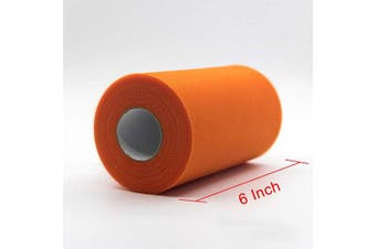 (200 Yards, Orange) - Adeeing Tulle Rolls 15cm x 200 Yards (180m) Orange Tulle Fabric Bolt Spool for Tutu Skirt Crafting Favours Pew Bow Halloween Party Decorations