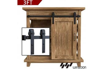 WINSOON 0.9m Super Mini Sliding Barn Door Cabinet Hardware Kit for Single Door TV Stands Small Wardrobe Cabinets, J Shape Hanger (NO Cabinet)