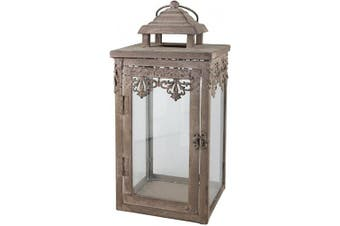 Stonebriar Decorative Fleur De Lis Metal Candle Lantern, Decoration for Parties, Vintage Wedding Centrepiece, or Create a Relaxing Spa Setting, Wall Hanging or Table Top Display, Indoor or Outdoor Use