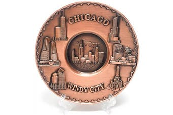 Chicago Souvenir Plate Copper Toned 3D Metal with Stand (13cm . Diameter)