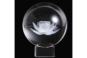 HDCRYSTALGIFTS Crystal 2.4 inch (60mm) Carving Lotus Crystal Ball with Free Glass Stand,Fengshui Glass Ball Home Decoration