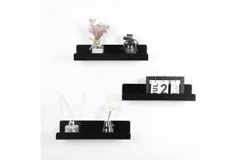 (Black,3 PCS) - IEEK 15 Inch Black Acrylic Floating Wall Ledge Shelf,Wall Mounted Nursery Kids Bookshelf,5MM Thick Home/Office/Bathroom Storage Shelves Display Organiser Set of 3