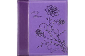 (1000 Pockets, Purple) - Artmag Photo Album 4x6 1000 Photos, Large Capacity Wedding Family Leather Cover Picture Albums Holds Horizontal and Vertical 4x6 Photos with Black Pages(Purple)