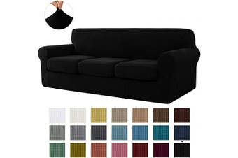 (Large, Black) - CHUN YI Stretch Sofa Slipcover Separate Cushion Couch Cover, Armchair Loveseat Replacement Coat for Ektorp Universal Sleeper, Cheques Spandex Jacquard Fabric (Large,Black)