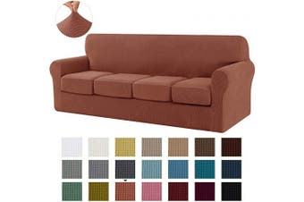 (X-Large, Brick) - CHUN YI Stretch Sofa Slipcover Separate Cushion Couch Cover, Armchair Loveseat Replacement Coat for Ektorp Universal Sleeper, Cheques Spandex Jacquard Fabric (X-Large,Brick)