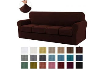 (X-Large, Chocolate) - CHUN YI Stretch Sofa Slipcover Separate Cushion Couch Cover, Armchair Loveseat Replacement Coat for Ektorp Universal Sleeper, Cheques Spandex Jacquard Fabric (X-Large,Chocolate)