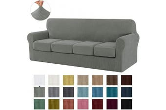 (X-Large, Dove Gray) - CHUN YI Stretch Sofa Slipcover Separate Cushion Couch Cover, Armchair Loveseat Replacement Coat for Ektorp Universal Sleeper, Cheques Spandex Jacquard Fabric(X-Large,Dove Grey