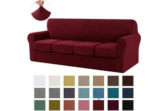 (X-Large, Wine) - CHUN YI Stretch Sofa Slipcover Separate Cushion Couch Cover, Armchair Loveseat Replacement Coat for Ektorp Universal Sleeper, Cheques Spandex Jacquard Fabric (X-Large,Wine)