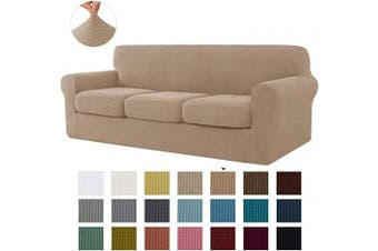 (Large, Camel) - CHUN YI Stretch Sofa Slipcover Separate Cushion Couch Cover, Armchair Loveseat Replacement Coat for Ektorp Universal Sleeper, Cheques Spandex Jacquard Fabric (Large,Camel)