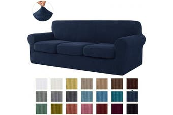 (Large, Dark Blue) - CHUN YI Stretch Sofa Slipcover Separate Cushion Couch Cover, Armchair Loveseat Replacement Coat for Ektorp Universal Sleeper, Cheques Spandex Jacquard Fabric (Large,Dark Blue)