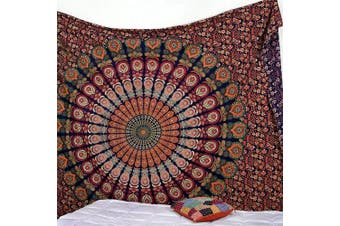 (Queen(84x90Inches)(215x230Cms), Golden Red Green) - Bless International Indian Hippie Bohemian Psychedelic Peacock Mandala Wall Hanging Bedding Tapestry (Golden Red Green, Queen(84x90Inches)(215x230Cms))