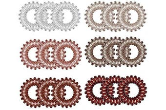 kuou Spiral Hair Ties, 18Pcs Crystal Original Hair Ties Stylish Bracelet - Suitable for All Hair Types