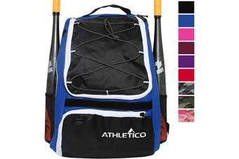 (Blue) - Athletico Baseball Bat Bag - Backpack for Baseball, T-Ball & Softball Equipment & Gear for Kids, Youth, and Adults | Holds Bat, Helmet, Glove, Shoes | Separate Shoe Compartment, Fence Hook