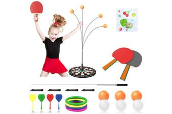 Achort Table Tennis Trainer, Table Tennis Set Elastic Soft Axis Table Tennis Set with 2 Bats & 6 Balls, Ping Pong Balls Paddles and Training Equipment Kit with Darts & Ferrules for Beginners Children