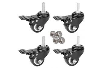 MySit 4pcs Stem Casters M8x 25 with Brake Lock | 5.1cm Heavy Duty PU Rubber Swivel Castor Wheel Shopping Trolley - Threaded Stem Bolt with Nuts (CasterBrake50_8x 25N)