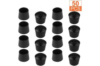 (3/4 Inch) - 50 PCS 1.9cm Round Chair Leg Tips Caps, CBTONE Anti-Slip Black Rubber Table Feet Covers Chair Leg Protectors