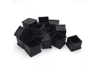 Antrader Rubber PVC Flexible Square End Cap 2.5cm - 0.5cm Furniture Foot Cover Protectors 16 Pcs Black