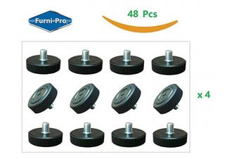 FURNI-PRO 48 pcs Table Bases Glides #M8-1.25 for Restaurants & Homes, Perfect for Patio Tables w/ #M8-1.25 Thread. Extra Large Bottom w/Side Strips for stable support and easy adjusting. Thread: #M8-3.2cm x 1.3cm H, 48pcs per Package (48, #M8-1.25)