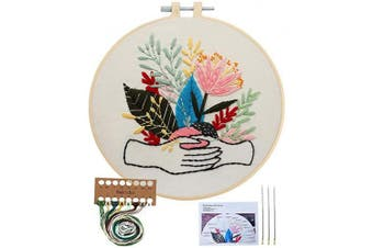 (Hand with Plant) - Embroidery Starter Kit with Pattern, Cross Stitch Kit Include Stamped Embroidery Clothes with Floral Pattern, Plastic Embroidery Hoops, Colour Threads and Tools Needlepoint Kits (Hand with Plant)