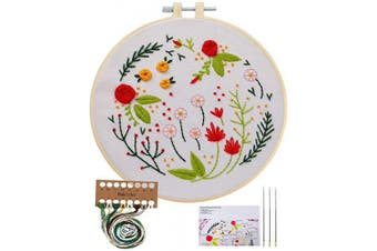(Plants Flowers) - Embroidery Starter Kit with Pattern, Cross Stitch Kit Include Stamped Embroidery Clothes with Floral Pattern, Plastic Embroidery Hoops, Colour Threads and Tools Needlepoint Kits (Plants Flowers)