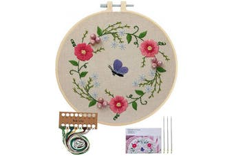 (Butterfly Flowers) - Embroidery Starter Kit with Pattern, Cross Stitch Kit Include Stamped Embroidery Clothes with Floral Pattern, Plastic Embroidery Hoops, Colour Threads and Tools Needlepoint Kits (Butterfly Flowers)