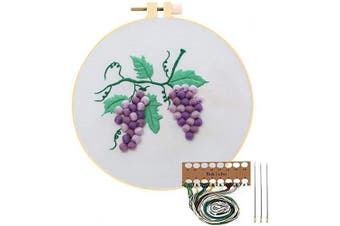 (Grape Tre) - Embroidery Starter Kit with Pattern, Cross Stitch Kit Include Stamped Embroidery Clothes with Floral Pattern, Plastic Embroidery Hoops, Colour Threads and Tools Needlepoint Kits (Grape Tree)