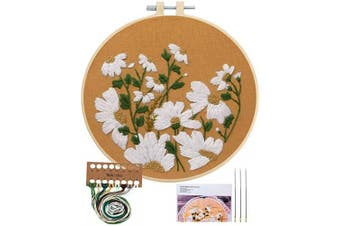 (Little Chrysanthemum) - Embroidery Starter Kit with Pattern, Cross Stitch Kit Include Stamped Embroidery Clothes with Floral Pattern, Plastic Embroidery Hoops, Colour Threads and Tools Needlepoint Kits (Little Chrysanthemum)