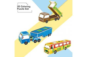 Alphatool 3D Colouring Painting Puzzle Set- 3pcs Vehicle DIY Models in 3 Styles Creative Educational Painting Crafts Kit Toys Vehicle Set Birthday Gift for Kids Children