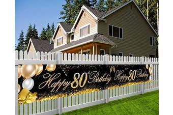 HOWAF Super Large Happy 80th Birthday Banner for 80th Birthday Party Decoration Black and Gold, 80th Birthday Fabric Photo Booth Backdrop Background Banner for Garden Table Wall Decoration, 9*0.4m