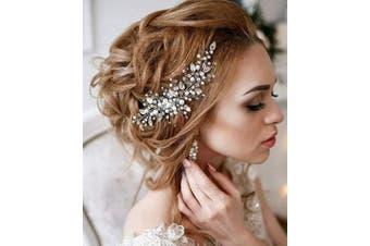 (Rose Gold) - Deniferymakeup Pearl Bridal Hair Vine Wedding Hair Accessories Bridal Hair Comb Crystal Wedding Hair Comb Wedding Hair Vine Bridal Hair Accessory (Rose Gold)