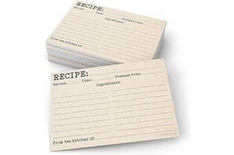 321Done Recipe Cards (Set of 50) 10cm x 15cm - Typewriter Rustic Kraft Tan Vintage - From the Kitchen Of - Large Double-Sided - Made in USA - Unisex Minimalist