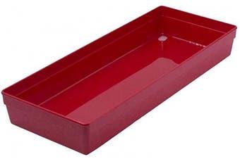 Glad Plastic Drawer Storage Tray – Heavy Duty Organiser Bin for Home, Kitchen, Bath, Bedroom, Office   Non-Slip Feet, 15x6, Red