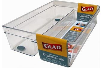 Glad Plastic Drawer Storage Tray – Heavy Duty Organiser Bin for Home, Kitchen, Bath, Bedroom, Office   Non-Slip Feet, 2-Compartment, Clear