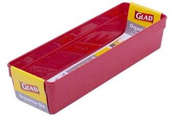 Glad Plastic Drawer Storage Tray – Heavy Duty Organiser Bin for Home, Kitchen, Bath, Bedroom, Office   Non-Slip Feet, 9.5x3, Red