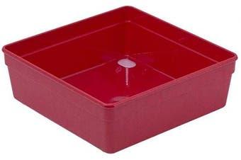 Glad Plastic Drawer Storage Tray – Heavy Duty Organiser Bin for Home, Kitchen, Bath, Bedroom, Office   Non-Slip Feet, 6x6, Red