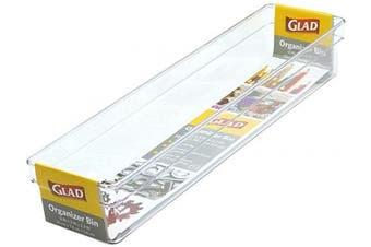 Glad Plastic Drawer Storage Tray – Heavy Duty Organiser Bin for Home, Kitchen, Bath, Bedroom, Office   Non-Slip Feet, 13x3, Clear