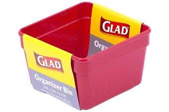 Glad Plastic Drawer Storage Tray – Heavy Duty Organiser Bin for Home, Kitchen, Bath, Bedroom, Office   Non-Slip Feet, 3x3, Red