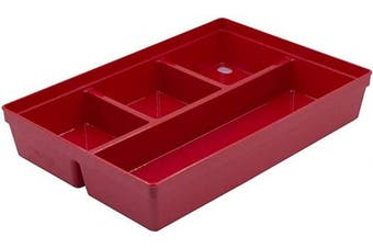 Glad Plastic Drawer Storage Tray – Heavy Duty Organiser Bin for Home, Kitchen, Bath, Bedroom, Office   Non-Slip Feet, 4-Compartment, Red