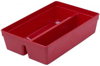 Glad Plastic Drawer Storage Tray – Heavy Duty Organiser Bin for Home, Kitchen, Bath, Bedroom, Office   Non-Slip Feet, 2-Compartment, Red