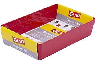 Glad Plastic Drawer Storage Tray – Heavy Duty Organiser Bin for Home, Kitchen, Bath, Bedroom, Office   Non-Slip Feet, 9x6, Red