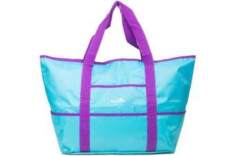 Dejaroo Water-Resistant Weekend Overnight Bag - Beach/Toy Tote Bag - Large Lightweight Market, Grocery & Picnic Tote with Oversized Pockets (Teal with Purple)