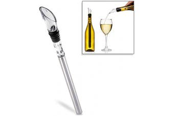 NutriChef PWCHLR10 Wine Bottle Chiller Rod-Stainless Steel Acrylic Beverage Chilling Aerating Pourer Metal Wand with Rubber Stopper, 0, White